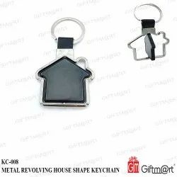 Stainless Steel Metal Revolving House Shape Keychain, For Promotional Gifts