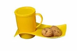 Mehul Crockery Plastic Coffee Mug with Trey Set (yellow)