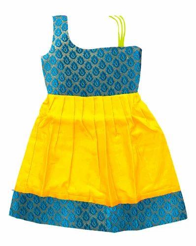 06b36dbb0 Yellow With Skyblue Pure Silk Bujuma Pattu Pavadai