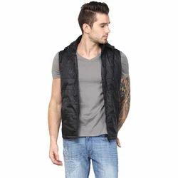 Yuvi Black Sleeveless Hoody Polyester Jacket