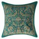 Emerald Green Brocade Pillow Cushion Cover