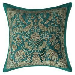Emerald Green Brocade Pillow Cushion Cover