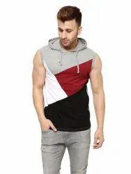 Grey Melange/Black Solid Hooded Vest