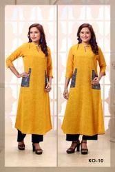 Cotton Yellow 3/4 Sleeves Party Wear Ladies Kurti