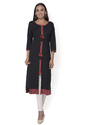 Rayon 3/4th Sleeve Black Kurti