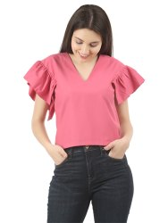 Women Cap Sleeved Crop Top