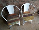 Reclaimed Wood Chairs Industrial Distress Finish Metal Tolix Chair, For Hotel And Restaurant, Size: 17x16x32 Inch