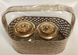 Mini Metal Gold Basket With Glass Jar