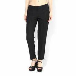 Plain Black Ladies Cotton Trouser, Waist Size: 28-36