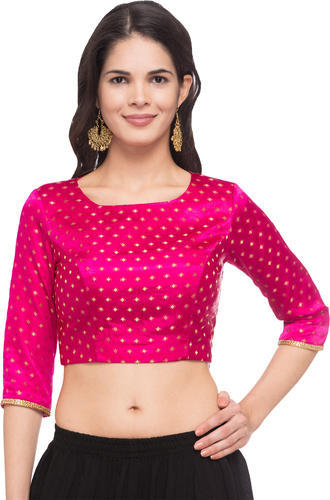 d5eefd2ca9 JustB Pink Dobby Print Design Round Neck Readymade Blouse at Rs 1299 ...