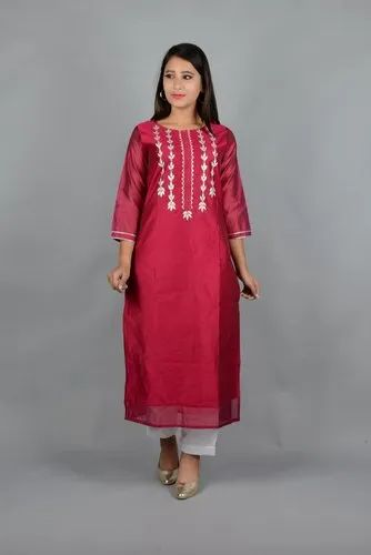 Chanderi Straight Kurti with Handwork and Attached Linning