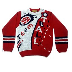 Red Full Sleeves Boys Woolen Sweater
