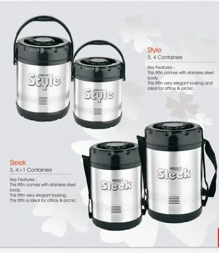 Silver Stainless Steel Breeze Big Containers Lunch Box for Home and office