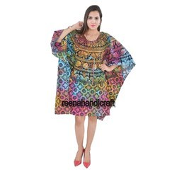 Indian Multi Tye Dye ChokorPhul Kaftan Mandala Women Dress