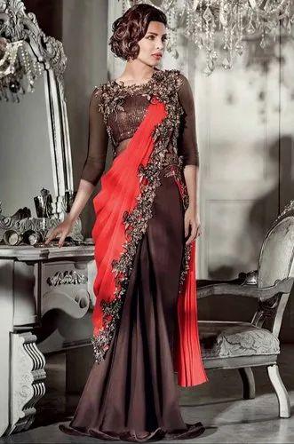 c9bdf7a50112 Coffee Brown And Salmon Red Festival Priyanka Chopra Designer Saree Style  Gown