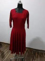rayon Plain Lace Dress
