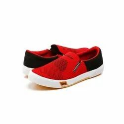 Mens Red Black Denim Canvas Shoes