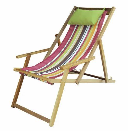Wooden Deck Beach Chair Lounger   Calypso Stripe