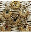 Brass Golden Designer Artificial Earrings Set