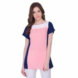 Peach Plain Party Wear Tops