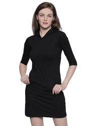 Cotton V Neck Women's Black Dress