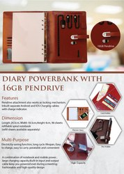Diary Power Bank With 16gb Pendrive - Giftana