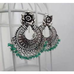 Green Beautiful Silver Earrings At Rs 2500 Pair Stone Earring Id 16303896148