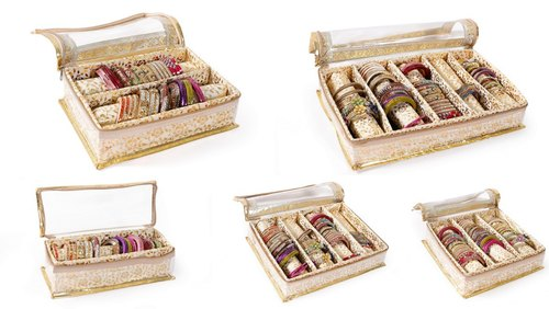 Indian Quilted Brocade Fabric Gold Bangle Box