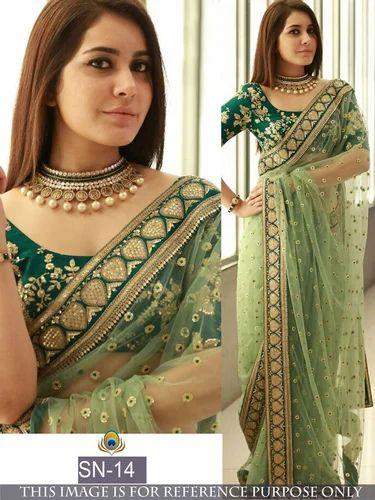 872727b311c2d Silk Party Wear Designer Heavy Work Saree