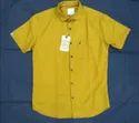 Cotton Collar Neck Men Yellow Plain Shirt