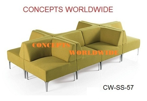 Grey And Green Modular Sofa Set, Warranty: 2 Year