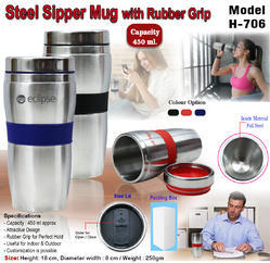 Steel Sipper Mug with Rubber Grip H-706