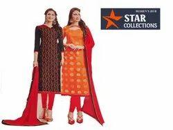 Ladies V-neck Party Wear Ethnic Khadi Silk Suit Material