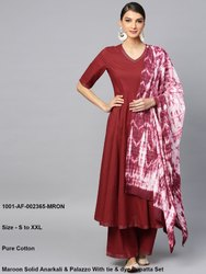 Solid Anarkali & Palazzo with Tie & Dye Dupatta Set