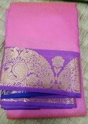 Kancheepuram Pink Silk Saree, With blouse piece