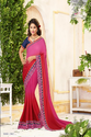 Pink And Royal Raw Silk Annycreation Women Sarees , With Blouse Piece