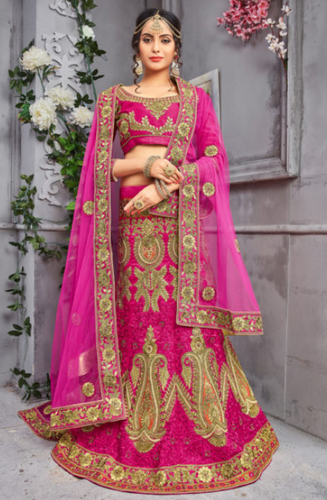 f9522d68ec75d Rani Color Pure Silk Rani Designer Heavy Embroidered Lehenga, Rs ...