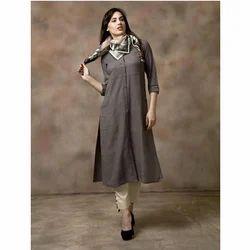 Ladies Cotton 3/4th Sleeve Kurtis, Size: L & XL