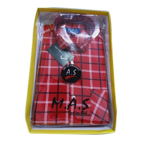 M.A.S. Checks Men Red Cotton Check Shirt