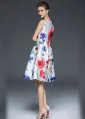 Printed Sleeve Less D-53 Pihu White Dress b10ea9e64ccc