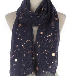 Scarf Gold Foil - Dark Blue