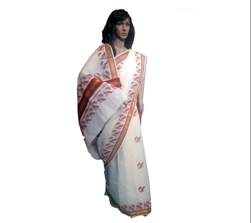 White And Red And Golden Cotton Balaramapuram Saree