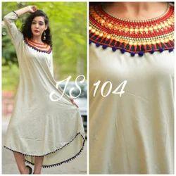 Regular Women Silk Premium Slub Rayon Long Casual Wear
