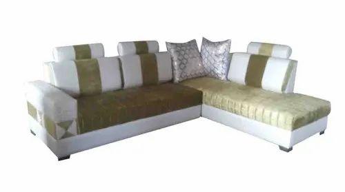 Green White L Shape Sofa