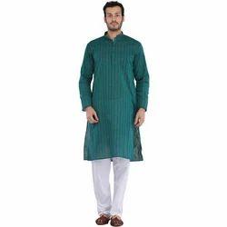 Cotton Mens Ethnic Kurta Pyjama Set
