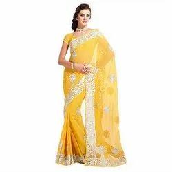 Kalamkari Print Party Wear Pure Georgette Saree with Blouse Piece