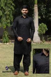 Eid special Black Mens Designer Pathani Suit, Size: Large