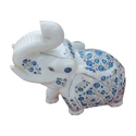 Marble Inlay Work Mini Elephant Statue