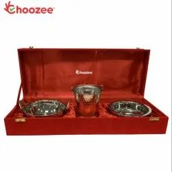 Choozee - Copper SS Handi, Bucket and Kadhai Set of 3 Pcs
