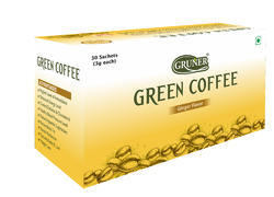 Natural Ginger Flavor Gruner Green Coffee Bean Powder, Packaging Size: 30 Sachets